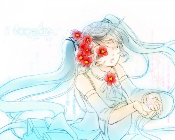 Tags: Anime, Pixiv Id 908378, VOCALOID, Hatsune Miku, Eye Flower, Hirari Hirari