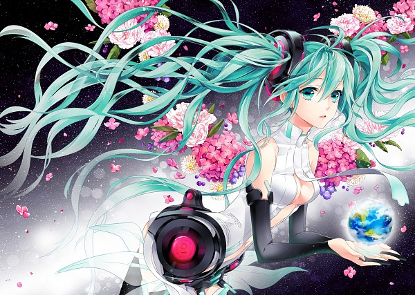 Tags: Anime, Cocoon (Artist), VOCALOID, Hatsune Miku, Chrysanthemum, Pixiv, Append, Fanart