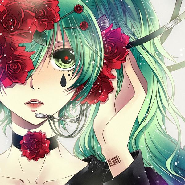 Tags: Anime, Arin1201, VOCALOID, Hatsune Miku, Flower Clip, Barcode, Pixiv, Hirari Hirari, Fanart