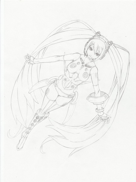 Tags: Anime, VOCALOID, Hatsune Miku, Sketch