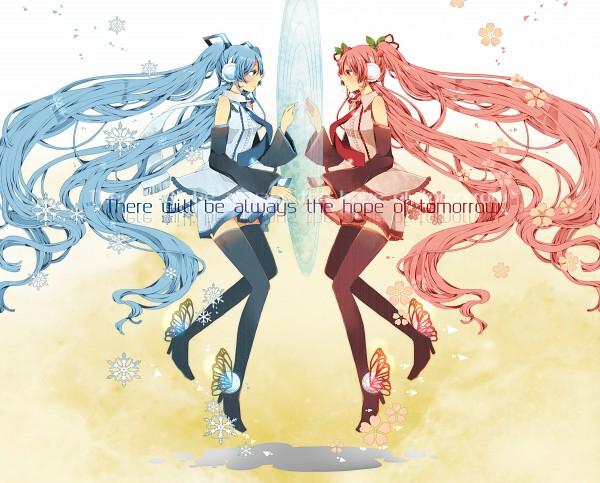 Tags: Anime, Komine, VOCALOID, Hatsune Miku, Mirror Image, Symmetry, Sakura Design, Pixiv, Hanabie (VOCALOID), Yuki Design