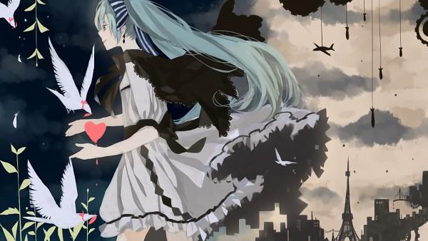 Tags: Anime, Anbivarens, VOCALOID, Hatsune Miku, Eiffel Tower, Paris (Town), HD Wallpaper, Pixiv, Facebook Cover, Wallpaper