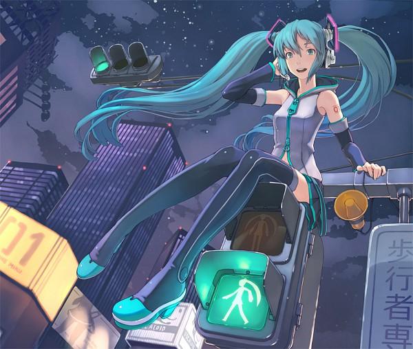 Tags: Anime, Shizuma Yoshinori, VOCALOID, Hatsune Miku, Traffic Light