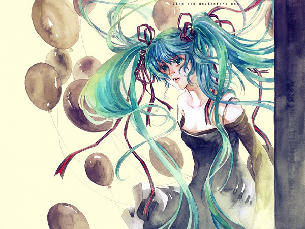 Tags: Anime, Clap-san, VOCALOID, Hatsune Miku, Watercolor, deviantART, Traditional Media