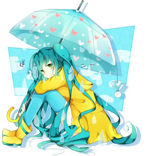 Tags: Anime, Pixiv Id 2224088, VOCALOID, Hatsune Miku, Rain Boots, Rain Coat, Raindrop (Symbol), Teru Teru Bouzu, Fanart, Pixiv