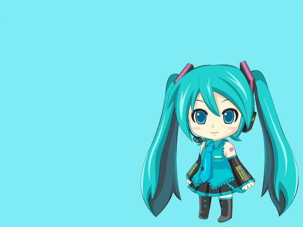 Tags: Anime, VOCALOID, Hatsune Miku, Aqua, Aqua Background, Artist Request, Wallpaper