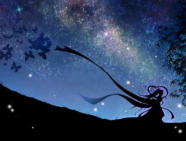 Tags: Anime, mokoppe, VOCALOID, Orihime (Goddess), Hatsune Miku, Galaxy, Milky Way, Tanabata, Cantarella (Song)
