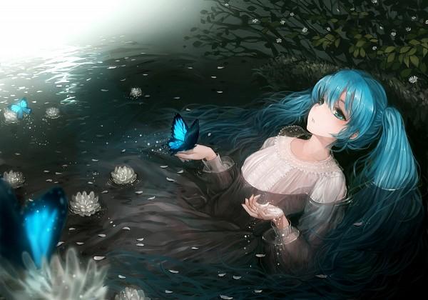 Tags: Anime, Suzushirosayu, VOCALOID, Hatsune Miku, Ophelia (Painting), Fine Art Parody, Fanart, Pixiv