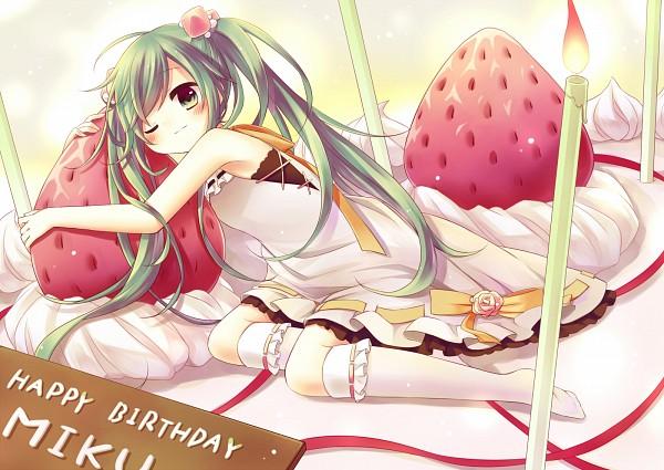 Tags: Anime, VOCALOID, Hatsune Miku, Strawberry Shortcake, Orange Ribbon
