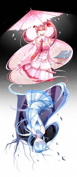 Tags: Anime, Lyodi, VOCALOID, Hatsune Miku, Hanabie (VOCALOID), Yuki Design, Sakura Design