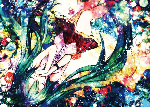 Tags: Anime, Sazanami Shione, VOCALOID, Hatsune Miku, Watercolor, Fanart, Traditional Media, Pixiv