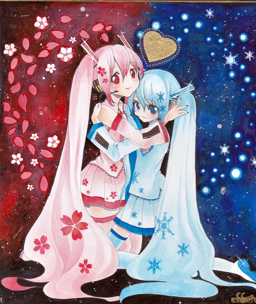 Tags: Anime, Mosho, VOCALOID, Hatsune Miku, Watercolor, Traditional Media, Fanart, Yuki Design, Pixiv, Sakura Design, Scan