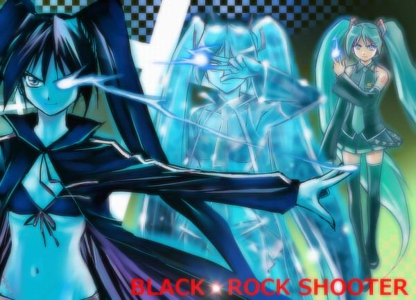 Tags: Anime, Yusao, Black★Rock Shooter, VOCALOID, Hatsune Miku, Black★Rock Shooter (Character), Transformation