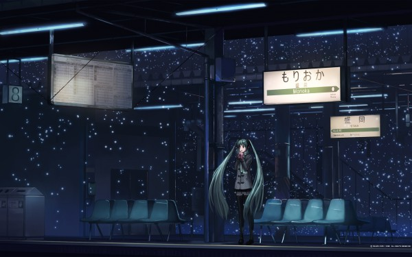 Tags: Anime, Fo~Do, VOCALOID, Hatsune Miku, Train Station, Waiting, Station, Fanart, Pixiv, Wallpaper, Mikumix