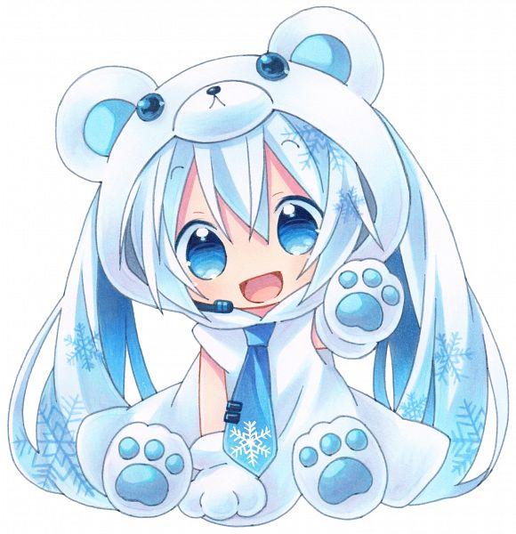 Tags: Anime, Kagami Leo, VOCALOID, Hatsune Miku, Bear Costume, Bear Hat, Fanart, Pixiv, Yuki Design