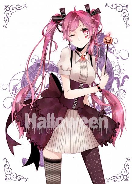 Tags: Anime, Hinamuu, VOCALOID, Hatsune Miku, Text: Halloween, Fanart, Pixiv, Mobile Wallpaper, Sakura Design