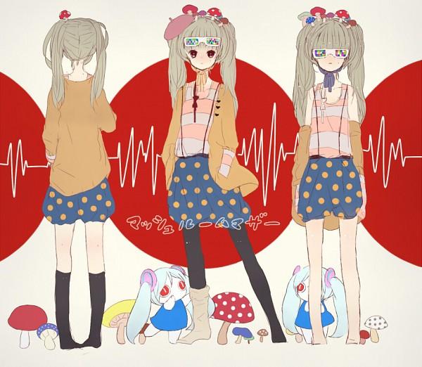 Tags: Anime, Chaka (Pixiv2554283), VOCALOID, Aimaina, Hatsune Miku, Heartbeat, Spotted Skirt, Mushroom Mother, Pixiv, Fanart