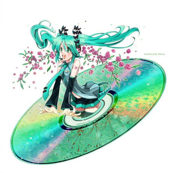 Tags: Anime, VOCALOID, Hatsune Miku, CD (Object)