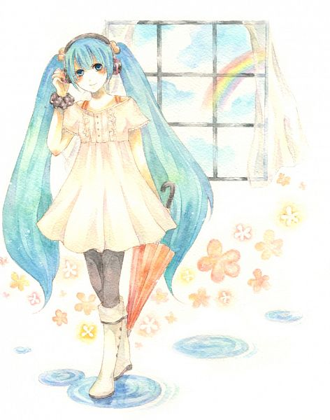 Tags: Anime, Fuu (Goingmyway421), VOCALOID, Hatsune Miku, Traditional Media, Pixiv, Melt (Song)