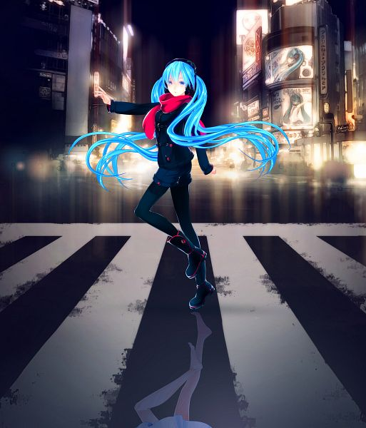Tags: Anime, iXima, VOCALOID, Hatsune Miku, Different Reflection, Crosswalk, Pixiv
