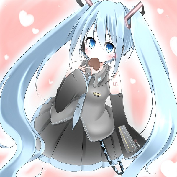 Tags: Anime, Pixiv Id 807918, VOCALOID, Hatsune Miku, Chocolate Heart, Fanart, Pixiv
