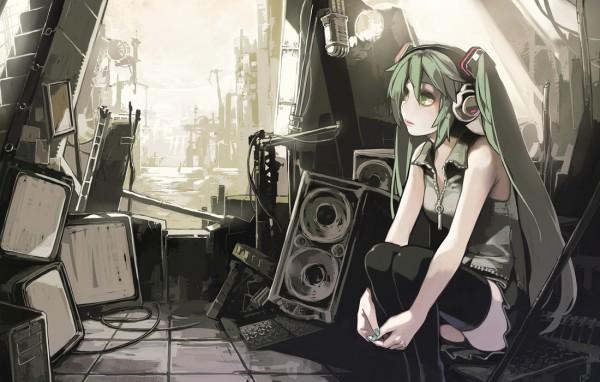 Tags: Anime, Aoinhatsu, VOCALOID, Hatsune Miku, Dark Colors, Fanart From Pixiv, Fanart, Pixiv