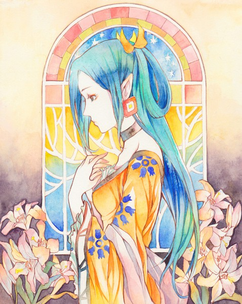 Tags: Anime, Hibiki Bagawa, Gankutsuou, Haydée Tebelin, Pixiv, Fanart, Watercolor, Traditional Media
