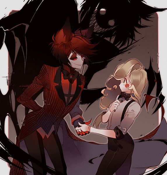 Tags: Anime, kawacy, Hazbin Hotel, Alastor (Hazbin), Charlie (Hazbin), Different Shadow, Suspeders, Shaking Hands, deviantART, Fanart, Fanart From DeviantART