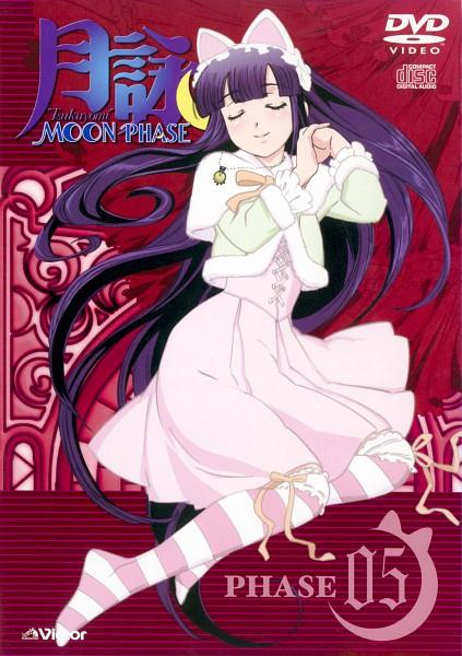 Tags: Anime, Shaft (Studio), Tsukuyomi: Moon Phase, Hazuki (Tsukuyomi: Moon Phase), Red Curtain, Shawl, Stained Glass, Scan, DVD (Source), Official Art