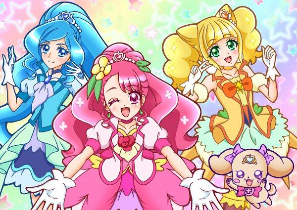 Tags: Anime, Pixiv Id 13140532, Healin'Good♥Precure, Cure Fontaine, Hanadera Nodoka, Hiramitsu Hinata, Cure Grace, Cure Sparkle, Sawaizumi Chiyu, Multicolor Background, Pixiv