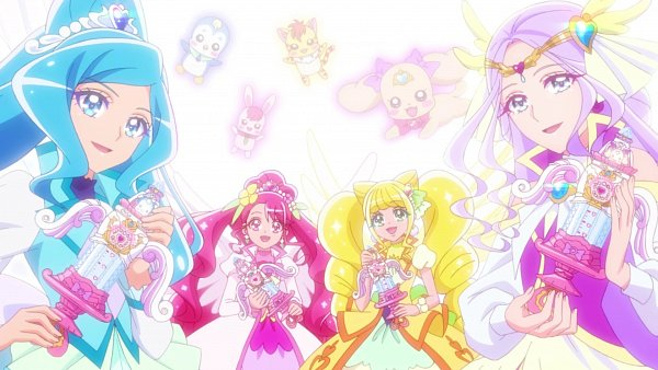Tags: Anime, Toei Animation, Healin'Good♥Precure, Rate (Precure), Hanadera Nodoka, Cure Earth, Hiramitsu Hinata, Cure Grace, Rabirin, Cure Sparkle, Pegitan, Sawaizumi Chiyu, Nyatoran