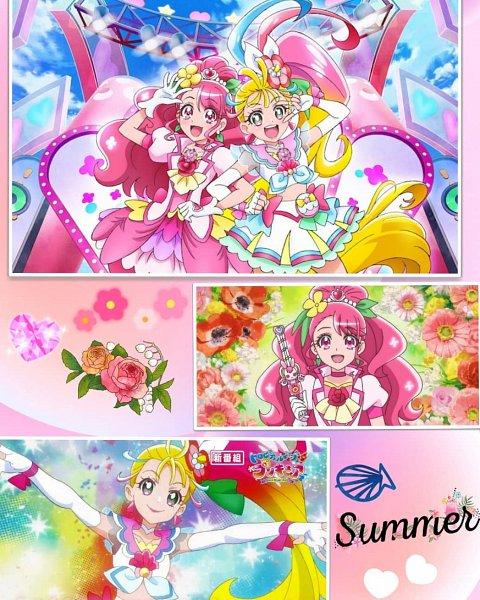 Tags: Anime, Healin'Good♥Precure, Tropical-Rouge! Precure, Hanadera Nodoka, Cure Grace, Natsumi Manatsu, Cure Summer, Screenshot, Edited, Collage