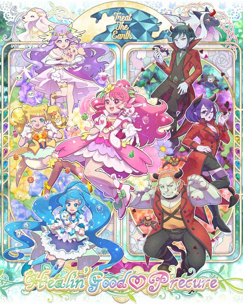 Tags: Anime, Pixiv Id 118669, Healin'Good♥Precure, Cure Earth, Hanadera Nodoka, Rabirin, Hiramitsu Hinata, Cure Grace, Pegitan, Cure Sparkle, Guaiwaru, Nyatoran, Sawaizumi Chiyu