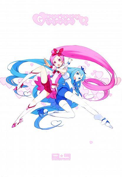 Tags: Anime, Kuroboshi Kouhaku, Heartcatch Precure!, GRANADA LEVEL P, Hanasaki Tsubomi, Kurumi Erika, Cure Blossom, Cure Marine, Scan, Fanart