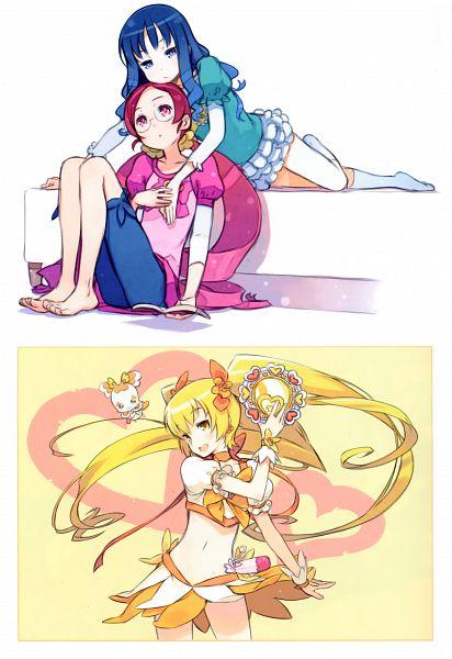 Tags: Anime, Kuroboshi Kouhaku, Heartcatch Precure!, GRANADA LEVEL P, Kurumi Erika, Myoudouin Itsuki, Cure Sunshine, Hanasaki Tsubomi, Potpourri, Scan, Mobile Wallpaper, Fanart