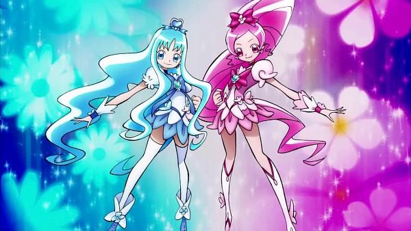 Tags: Anime, Heartcatch Precure!, Cure Blossom, Cure Marine, Hanasaki Tsubomi, Kurumi Erika, Transformation, Screenshot