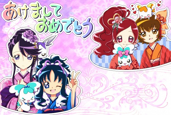 Tags: Anime, Imahia, Heartcatch Precure!, Tsukikage Yuri, Shypre, Potpourri, Hanasaki Tsubomi, Myoudouin Itsuki, Kurumi Erika, Cologne (Pretty Cure), Coffret, Fanart, Fanart From Pixiv