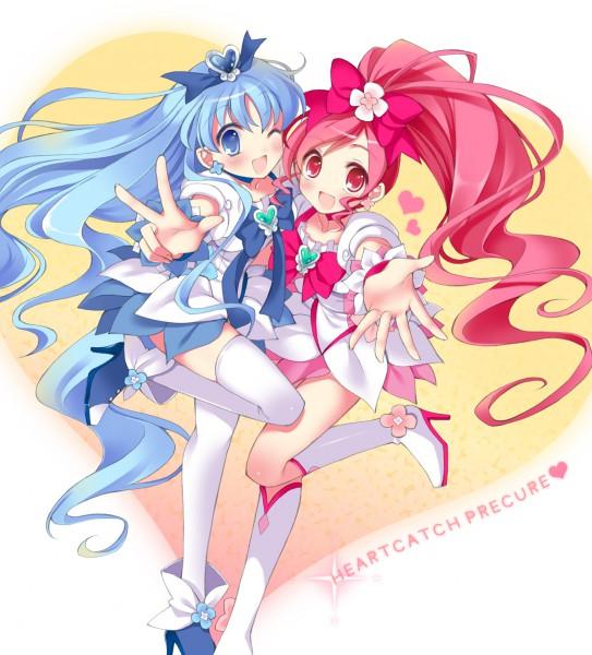 Tags: Anime, Pan (mimi), Heartcatch Precure!, Kurumi Erika, Cure Blossom, Cure Marine, Hanasaki Tsubomi, Fanart, Pixiv