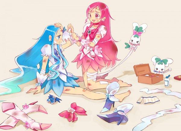 Tags: Anime, Pixiv Id 210786, Heartcatch Precure!, Coffret, Cure Marine, Shypre, Hanasaki Tsubomi, Kurumi Erika, Cure Blossom, First Aid Kit, Bruise, Footwear Off, Cotton Balls