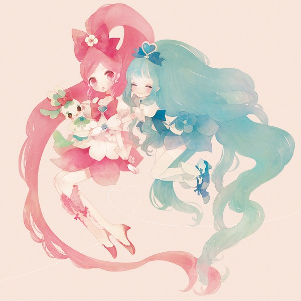 Tags: Anime, Pechika, Heartcatch Precure!, Hanasaki Tsubomi, Kurumi Erika, Coffret, Cure Blossom, Shypre, Cure Marine, Pixiv, Fanart From Pixiv, Fanart