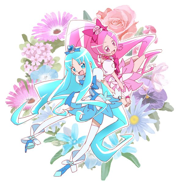 Tags: Anime, Pixiv Id 7765, Heartcatch Precure!, Cure Blossom, Cure Marine, Hanasaki Tsubomi, Kurumi Erika, Fanart From Pixiv, Pixiv, Fanart
