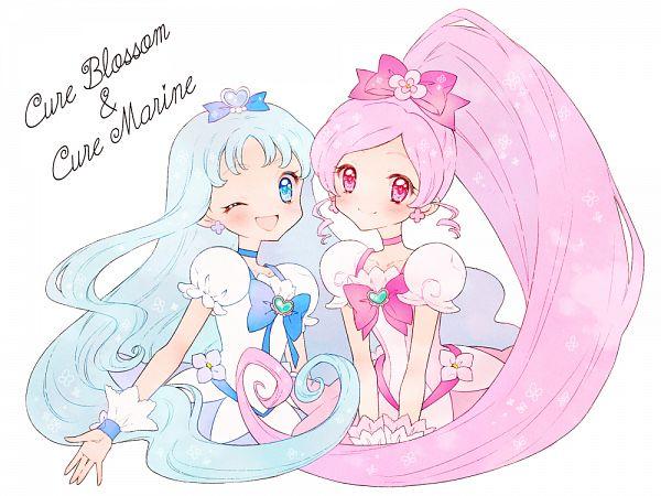 Tags: Anime, Pixiv Id 23770835, Heartcatch Precure!, Hanasaki Tsubomi, Kurumi Erika, Cure Blossom, Cure Marine, Pixiv, Fanart, Fanart From Pixiv