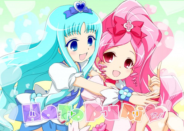 Tags: Anime, Fujieda Miyabi, Heartcatch Precure!, Kurumi Erika, Cure Blossom, Cure Marine, Hanasaki Tsubomi, Fanart, Fanart From Pixiv, Pixiv