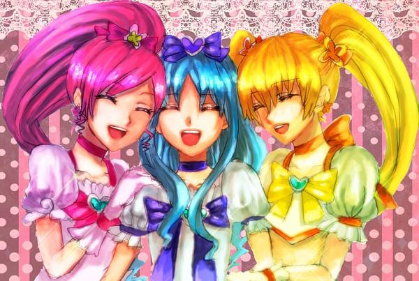 Tags: Anime, Pixiv Id 538992, Heartcatch Precure!, Kurumi Erika, Myoudouin Itsuki, Cure Blossom, Cure Sunshine, Cure Marine, Hanasaki Tsubomi, Pixiv, Fanart