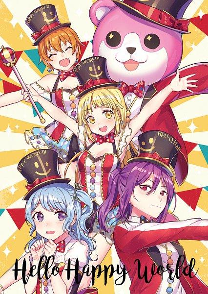 Tags: Anime, tiny (tini3030), BanG Dream! Girls Band Party!, Seta Kaoru, Michelle (Bang Dream!), Tsurumaki Kokoro, Okusawa Misaki, Kitazawa Hagumi, Matsubara Kanon, Text: Character Group Name, Bear Costume, Fanart, Fanart From Pixiv