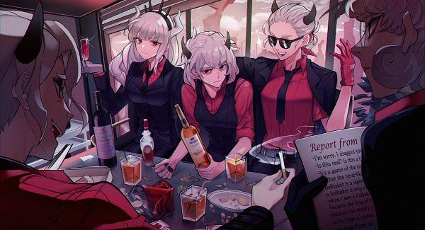 Tags: Anime, Pixiv Id 7717174, Helltaker, Lucifer (Helltaker), Justice (Helltaker), Pandemonica, Zdrada, Malina (Helltaker), Fanart, Fanart From Pixiv, Pixiv