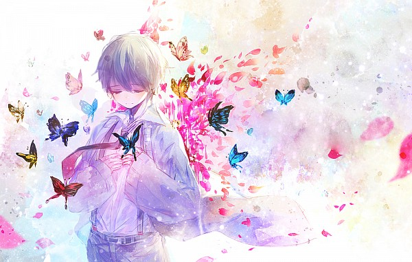 Tags: Anime, Herb, Butterfly on Hand, Animal on Hand, PNG Conversion, Pixiv, Original