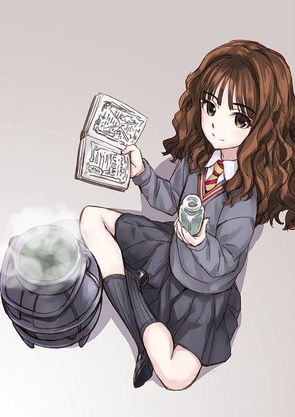 Tags: Anime, Matsuryu, Harry Potter, Fashionplate, Hermione Granger, Cauldron, Gray Legwear, V-neck, Gray Skirt, Mobile Wallpaper, Comic Market 86, PNG Conversion, Fanart