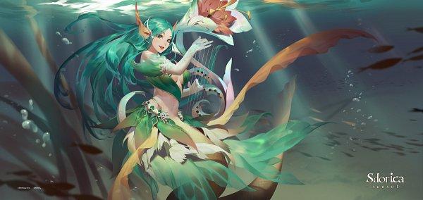 Tags: Anime, Lamierfang, Sdorica -sunset-, Hestia (Sdorica), Harp, Fanart From Pixiv, Pixiv, Fanart