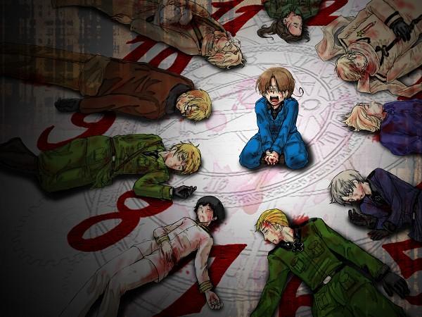 Tags: Anime, Pixiv Id 226939, Axis Powers: Hetalia, Hetaoni, Russia, United Kingdom, Prussia, United States, China, Germany, France, Kumajirou, North Italy